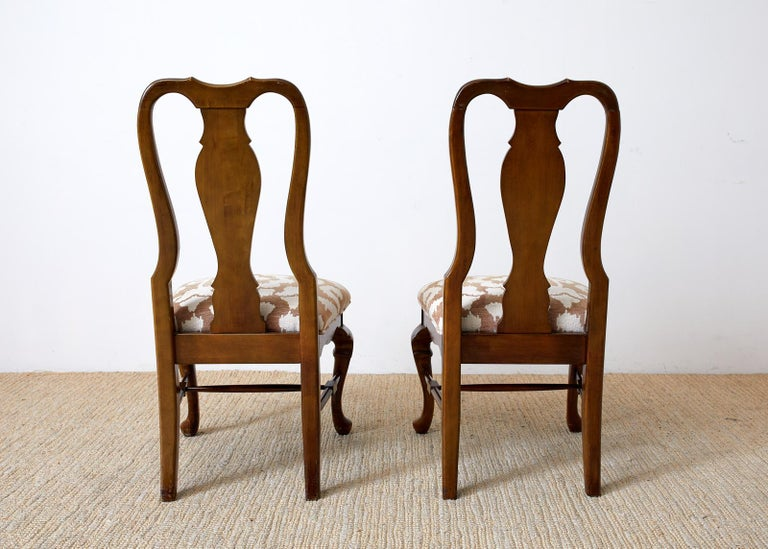 Set of Ten Queen Anne Style Mahogany Dining Chairs For Sale 9