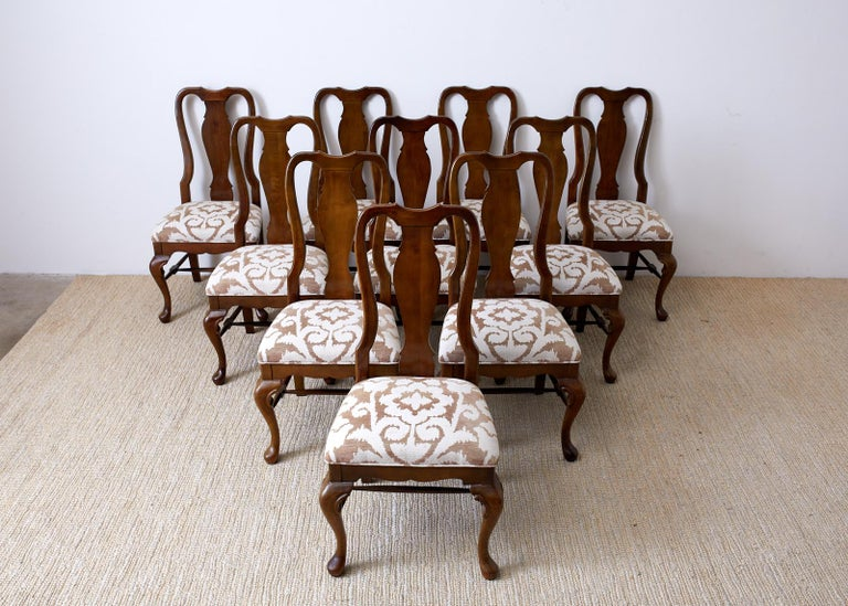 American Set of Ten Queen Anne Style Mahogany Dining Chairs For Sale
