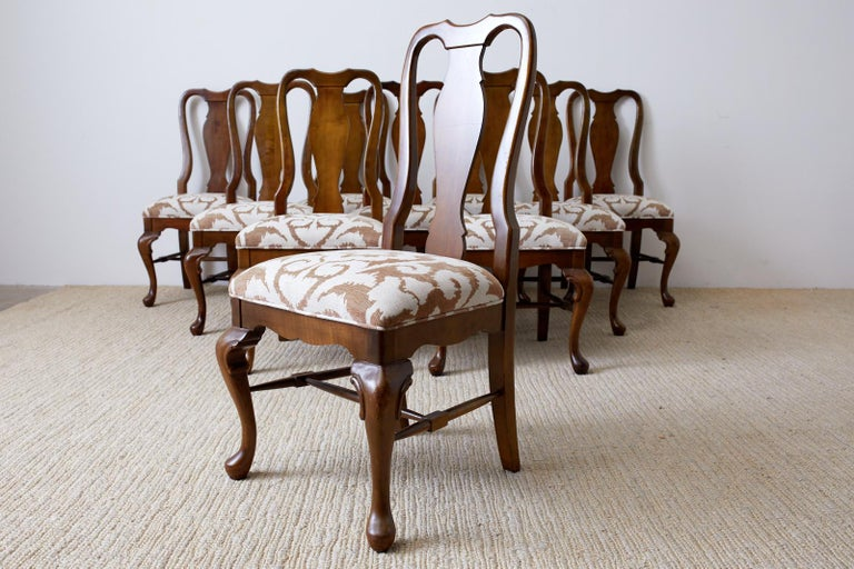 Hand-Crafted Set of Ten Queen Anne Style Mahogany Dining Chairs For Sale