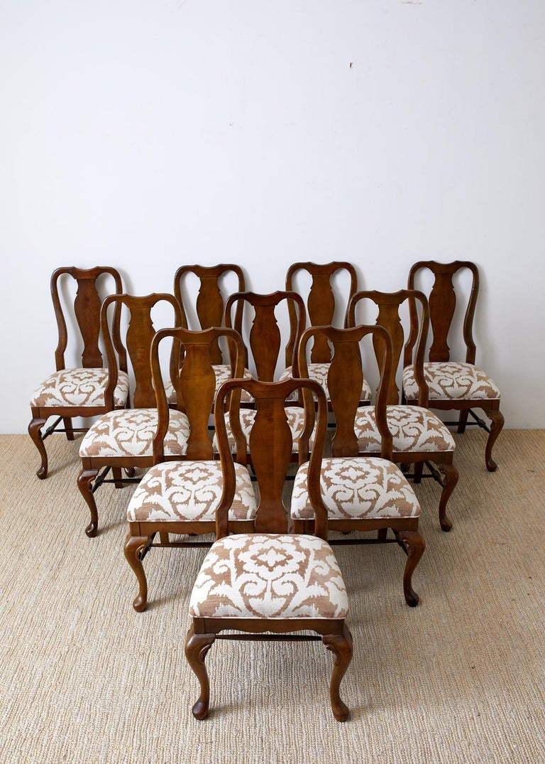 20th Century Set of Ten Queen Anne Style Mahogany Dining Chairs For Sale