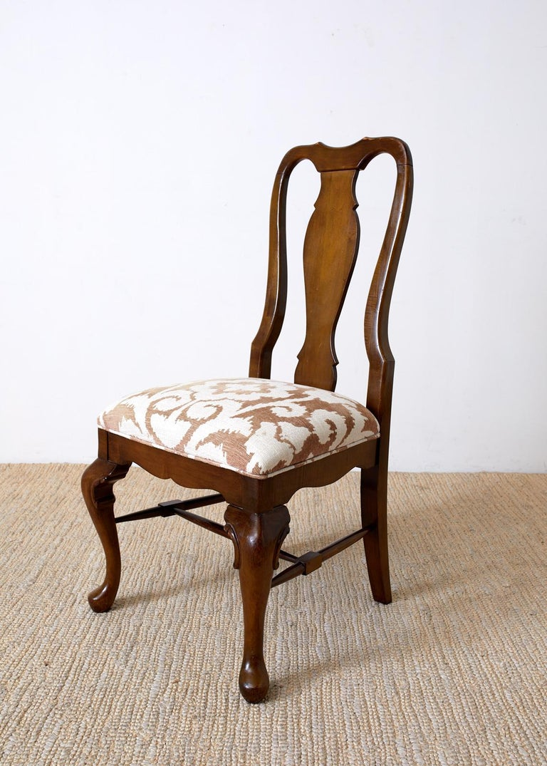 Set of Ten Queen Anne Style Mahogany Dining Chairs For Sale 1
