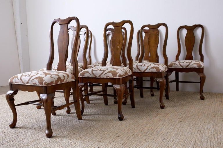 Set of Ten Queen Anne Style Mahogany Dining Chairs For Sale 2