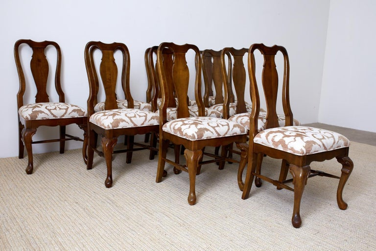Set of Ten Queen Anne Style Mahogany Dining Chairs For Sale 3