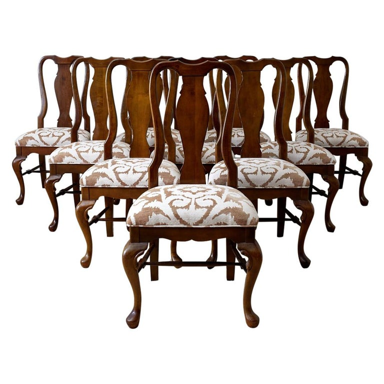 Set of Ten Queen Anne Style Mahogany Dining Chairs For Sale