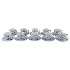 Set of 10 Royal Copenhagen Blue Fluted Plain Espresso/ Mocha Cups with Saucers