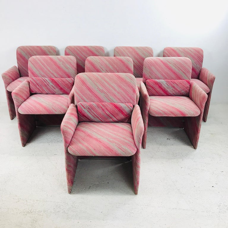 Stunning set of 10 1980s Saporiti dining chairs in Missoni fabric upholstery.
