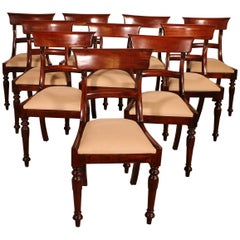 Set of 10 Solid Mahogany Chairs from the 19th Century
