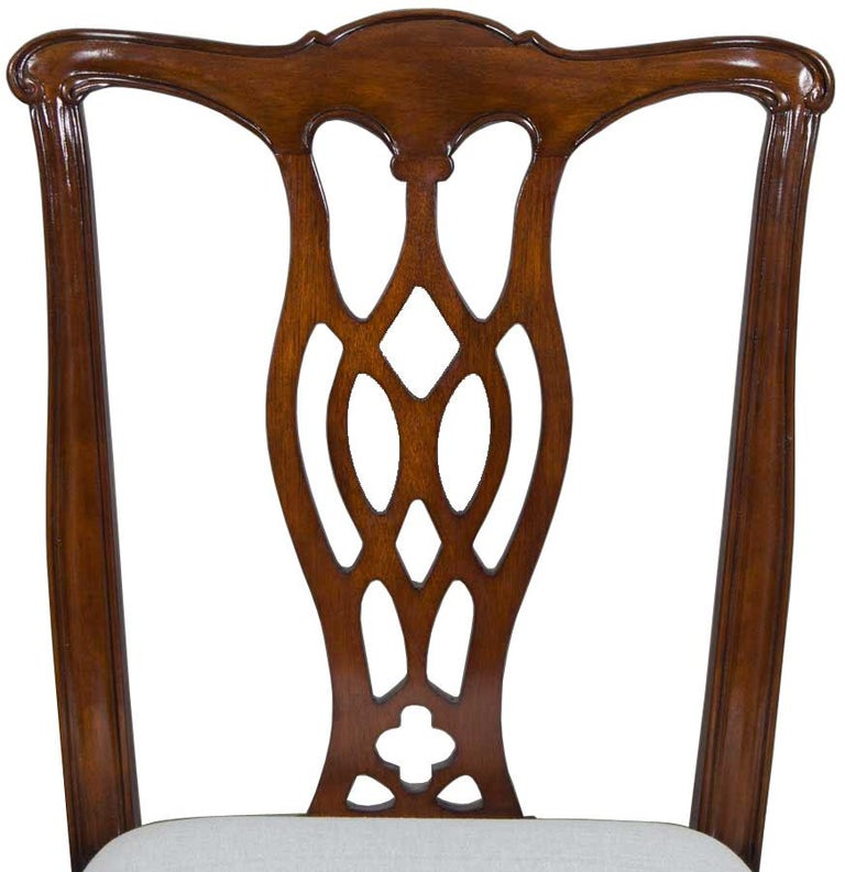 Chippendale Mahogany Dining Room Chairs: Set Of 10 Solid Mahogany Chippendale Style Dining Room