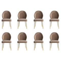 Set of 10 Sophia Dining Chair with Beautiful Back Details and Brushed Brass Tips
