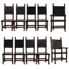 Set of Ten Spanish Colonial-Style Dining Chairs