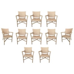 Set of 10 Spanish Hand Woven Wicker & Wood Chairs