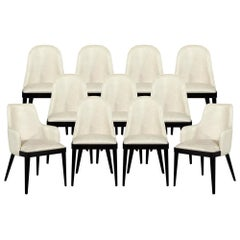 Set of 10 Svelte Custom Modern Leather Dining Chairs by Carrocel