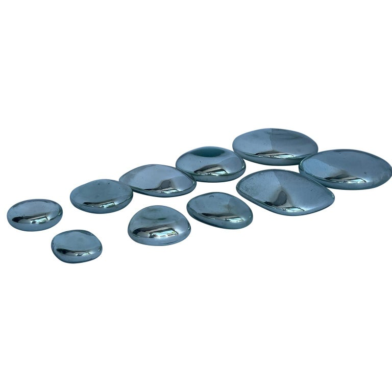 Polished Set of 10 Teardrop Mercury Glass Wall Sculptures For Sale