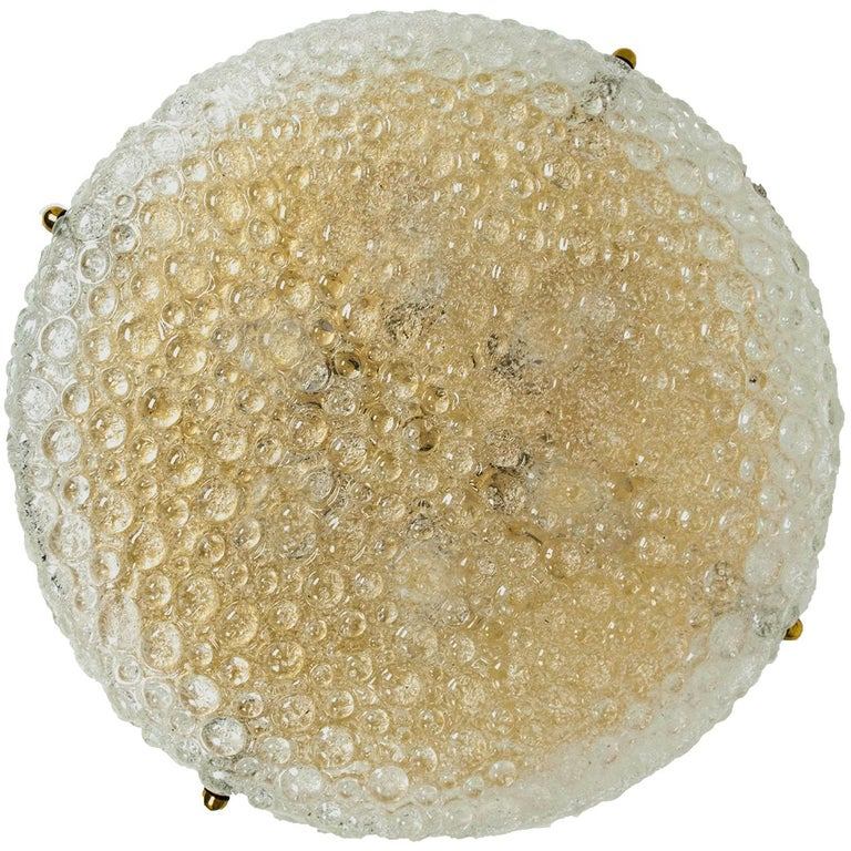 Set of 10 Thick Massive Bubble Handmade Glass Flush Mount or Wall Lights, 1960 For Sale 3