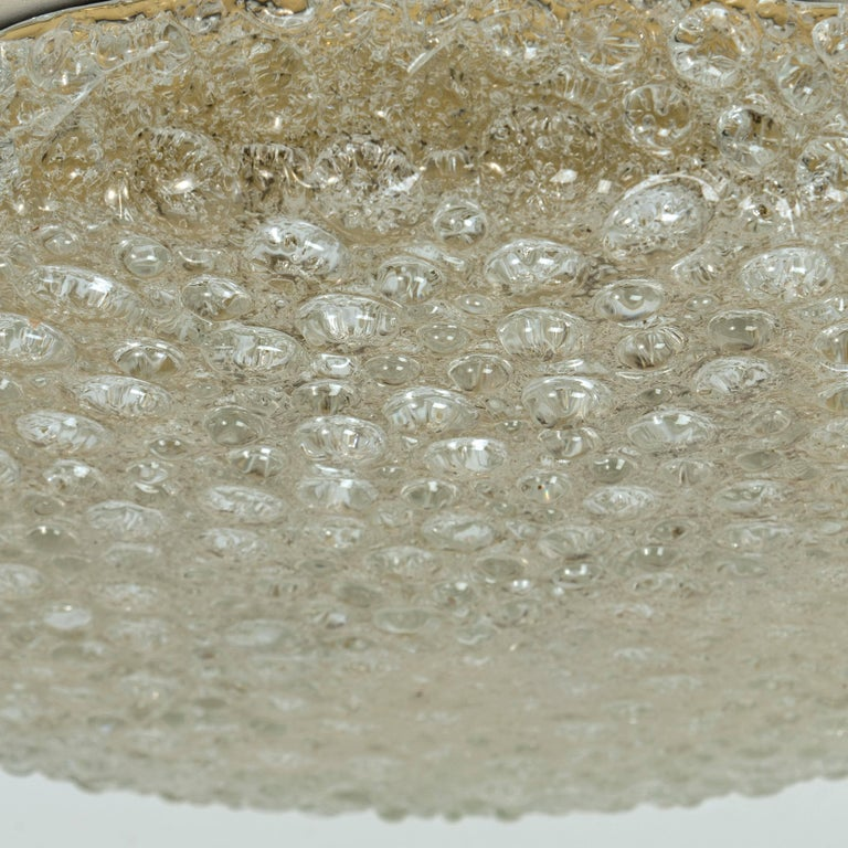 Set of 10 Thick Massive Bubble Handmade Glass Flush Mount or Wall Lights, 1960 For Sale 5