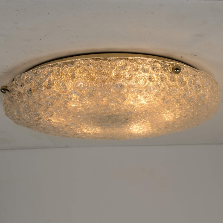 1960s Set of 10 Thick Massive Bubble Handmade Glass Flush Mount or Wall Lights, 1960 For Sale