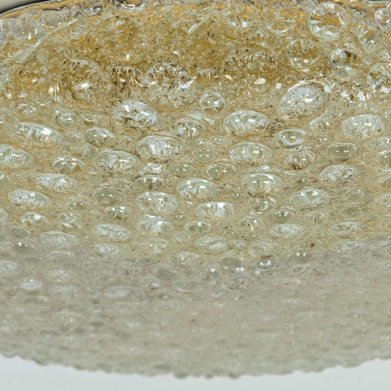 Set of 10 Thick Massive Bubble Handmade Glass Flush Mount or Wall Lights, 1960 For Sale 2
