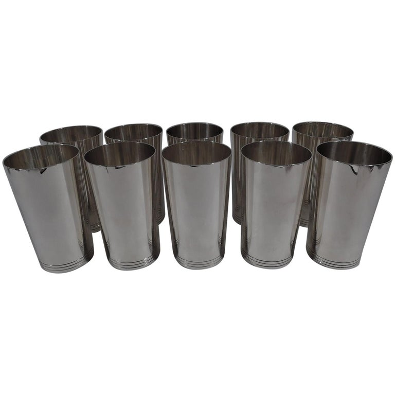 Set of 10 Tiffany Fabulous Modern Sterling Silver Highballs For Sale