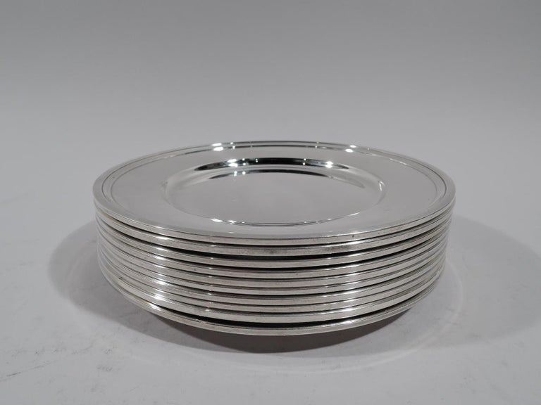 American Set of 10 Tiffany Modern Sterling Silver Bread and Butter Plates For Sale