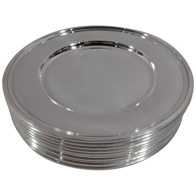 Set of 10 Tiffany Modern Sterling Silver Bread and Butter Plates For Sale