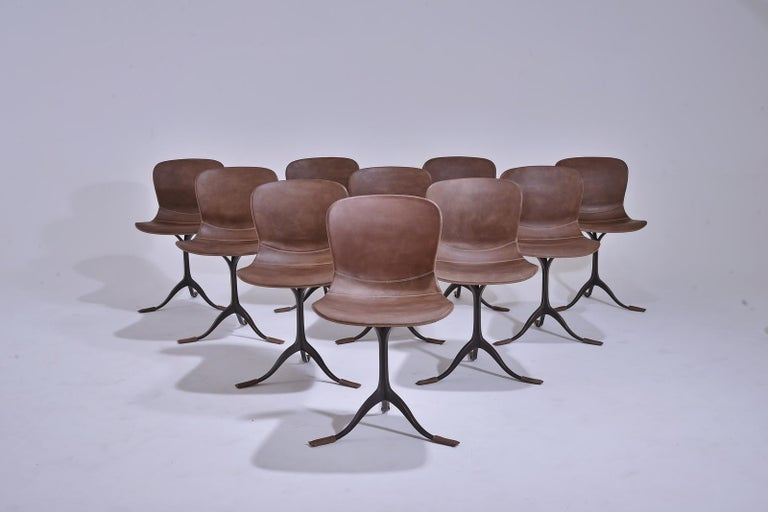 Set of 10 Truffe Leather and Brown Sand Cast Brass Chair by P. Tendercool For Sale 4