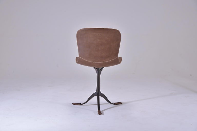 Made-to-order, 12 weeks.  Model: 10x - PT40-BS1-Buffed and oiled  Seat: Leather Seat color: Truffe Base: PT40, sand cast brass Base Dinish: Brushed brown Dimensions: 52 x 50 x 78 cm; seat height 46cm  (W x D x H) 20.5 x 19.7 x 30.71 inch;