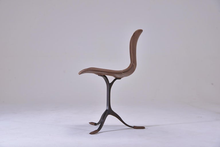 Mid-Century Modern Set of 10 Truffe Leather and Brown Sand Cast Brass Chair by P. Tendercool For Sale