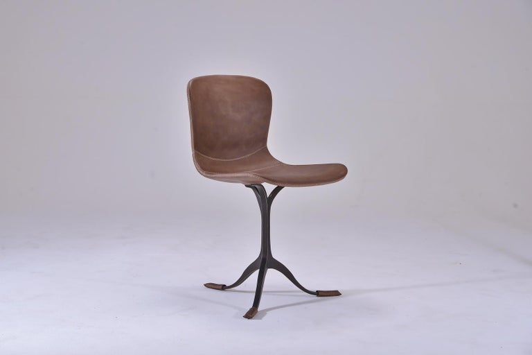 Thai Set of 10 Truffe Leather and Brown Sand Cast Brass Chair by P. Tendercool For Sale