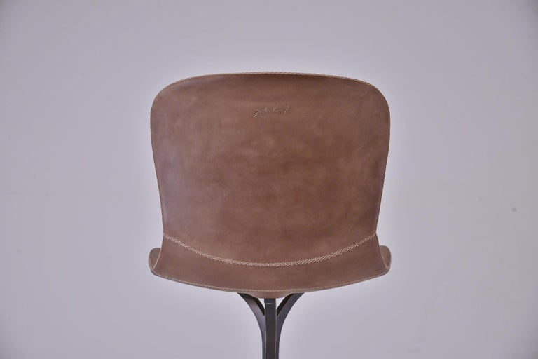 Set of 10 Truffe Leather and Brown Sand Cast Brass Chair by P. Tendercool In New Condition For Sale In Bangkok, TH