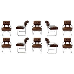 Set of 10 Tucroma Chairs in Brown Leather by Guido Faleschini