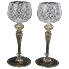 Set of 10 Venetian or Murano Glass Reticulo Filigrana Decorated Cordial Glasses