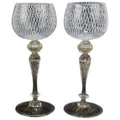 Set of 10 Venetian or Murano Glass Reticulo Filigrana Decorated Wine Glasses