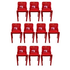 Set of 10 Vico Magistretti Designed Selene Stacking Chairs for Artemide in Red