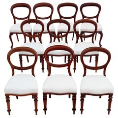 Set of 10 Victorian Mahogany Balloon Back Dining Chairs
