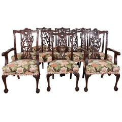 Set of 10 Vintage Bench Made Chippendale Style Ribbon Back Dining Chairs
