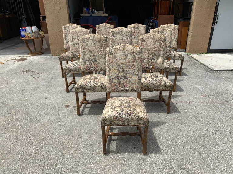 Set of 10 Vintage French Louis XIII Style Os De Mouton Dining Chairs, 1900s For Sale 7