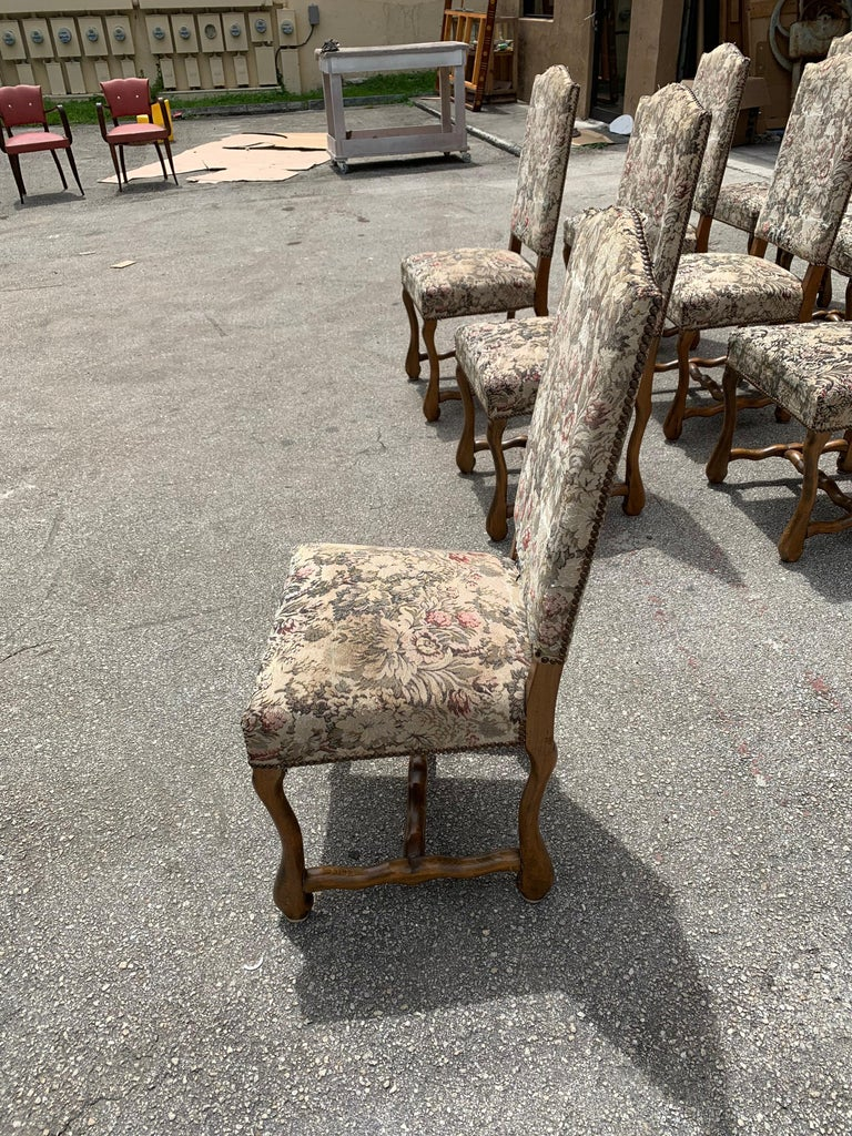 Set of 10 Vintage French Louis XIII Style Os De Mouton Dining Chairs, 1900s For Sale 8