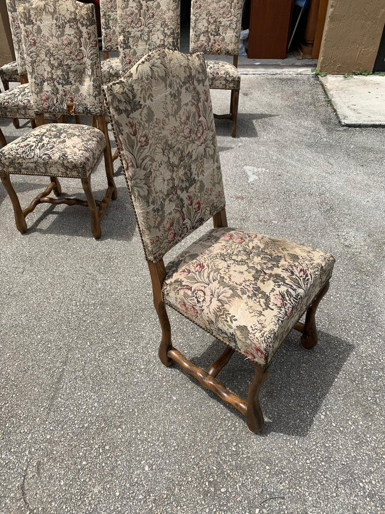 Set of 10 Vintage French Louis XIII Style Os De Mouton Dining Chairs, 1900s For Sale 10