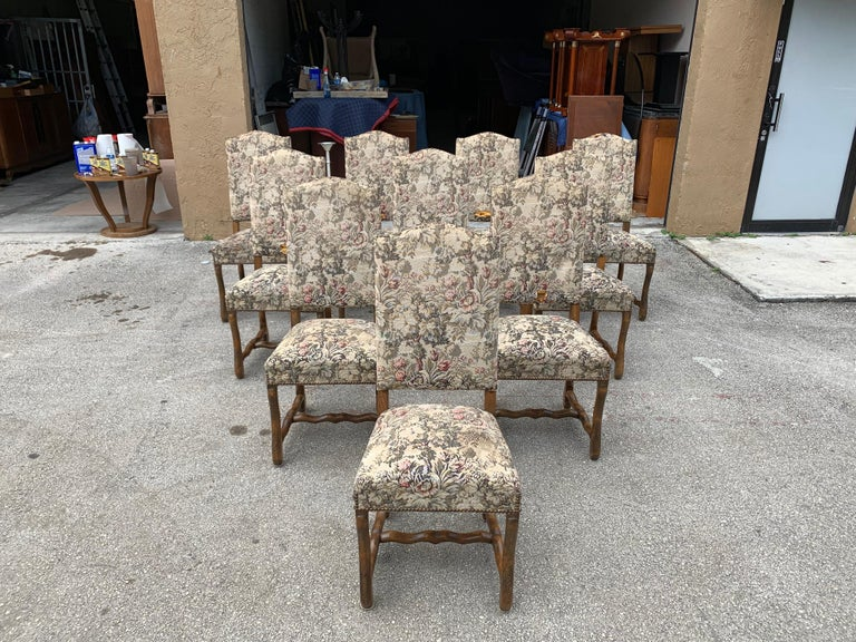 Set of 10 Vintage French Louis XIII Style Os De Mouton Dining Chairs, 1900s In Good Condition For Sale In Hialeah, FL