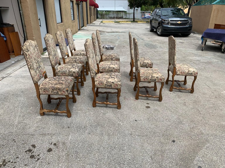 Early 20th Century Set of 10 Vintage French Louis XIII Style Os De Mouton Dining Chairs, 1900s For Sale