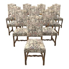 Set of 10 Vintage French Louis XIII Style Os De Mouton Dining Chairs, 1900s