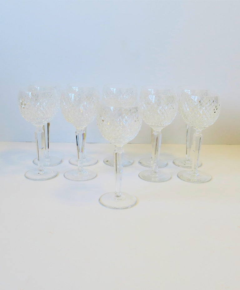 A beautiful and substantial set of 10 vintage Waterford crystal wine, Champagne, or water goblet glasses with a 'Diamond' pattern design, circa 20th century, Ireland. Crystal glasses have a nice weight to them, with each measuring 7.5