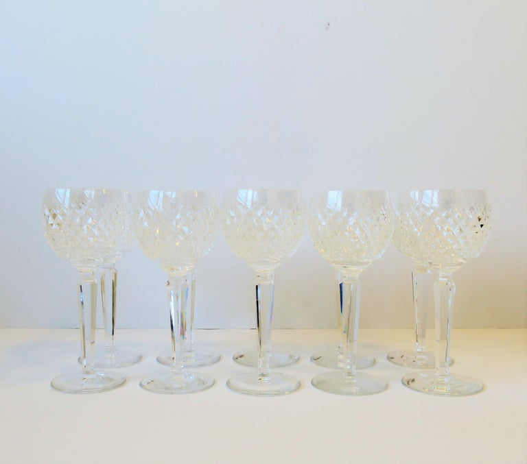 20th Century Vintage Waterford Crystal Wine or Water Goblet Glasses, Set of 10