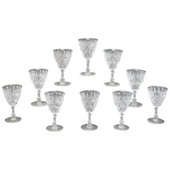 Set of 10 Webb Hand Blown Rock Crystal Engraved Goblets W/ Thistles Artichokes