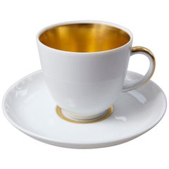 Set of 10 White and Gold Fürstenberg Porcelain Demitasse Cups & Saucers, Germany