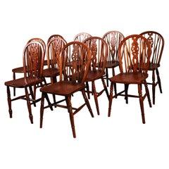 Set of 10 Windsor Wheelback Chairs 19th Century, England