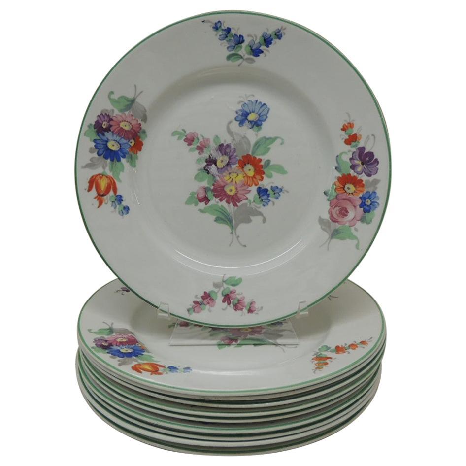 Set of '10' Wood & Sons Floral Porcelain Dessert Plates