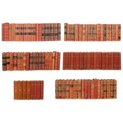 Set of 100 Swedish Antique Leather-Bound Books