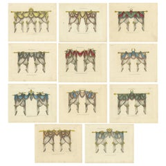 Set of 11 Antique Prints of Various Draperies by Osmont, circa 1820