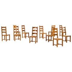 Set of 11 Art Deco Dining Chairs Produced in Sweden